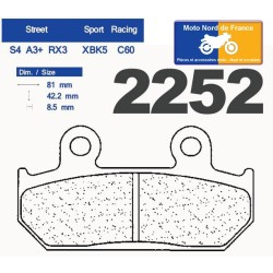 Set of pads type 2252 RX3