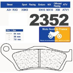 Set of pads type 2352 RX3